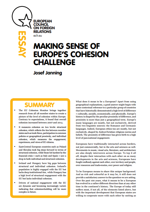 Cover: Making sense of Europe's cohesion challenge
