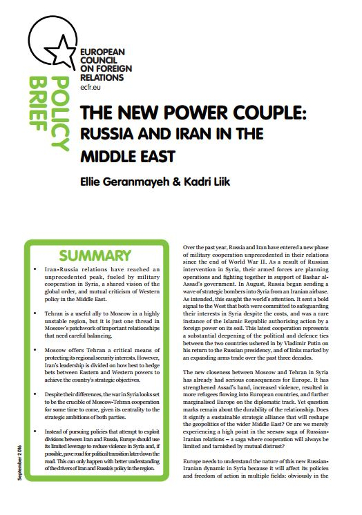 Cover: The new power couple: Russia and Iran in the Middle East