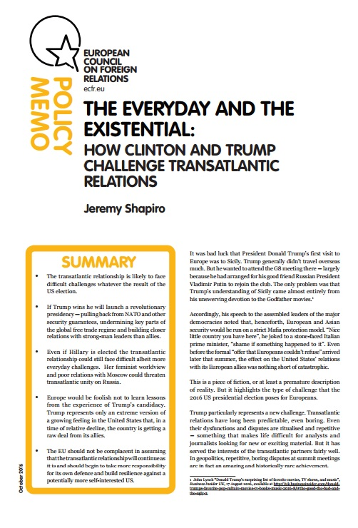 Cover: The everyday and the existential: how Clinton and Trump challenge transatlantic relations