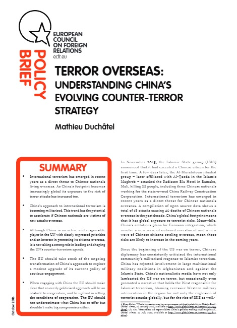 Cover: Terror overseas: understanding China's evolving counter-terror strategy