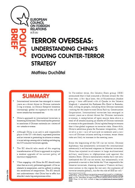 Cover: Terrorismo en el extranjero: la evolución de la estrategia antiterrorista de China