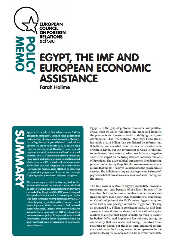 Cover: L'economia egiziana: cosa può fare l'Europa