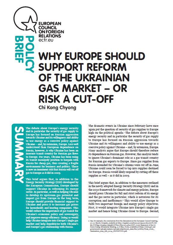 Cover: Why Europe should support reform of the Ukrainian gas market – or risk a cut-off