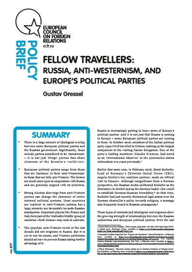 Cover: Fellow travellers: Russia, anti-Westernism, and Europe's political parties