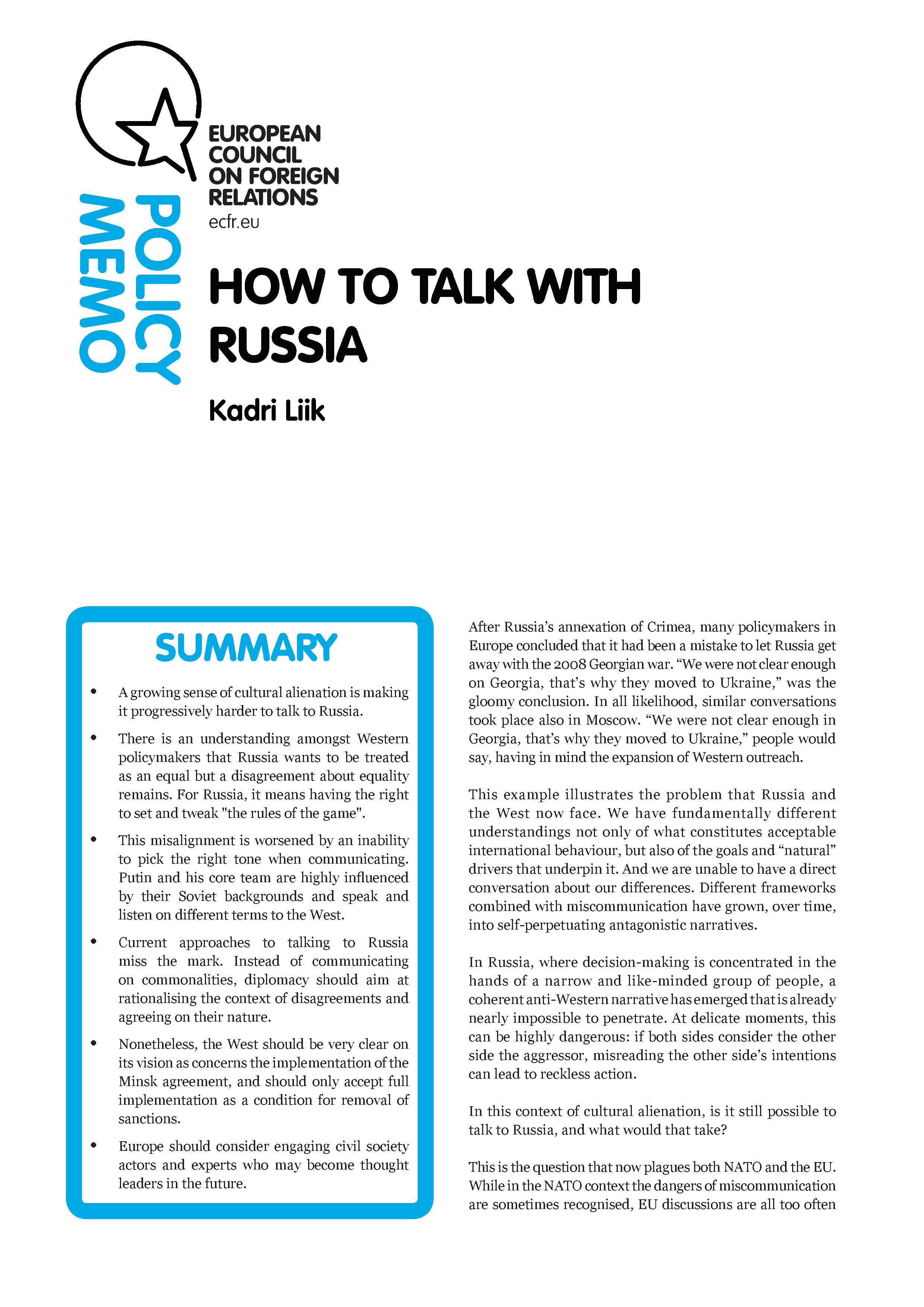 Cover: Kak da govorim s Rusia