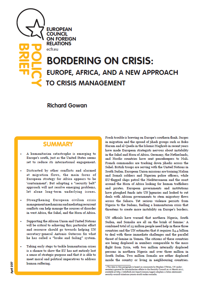 Cover: Bordering on crisis: Europe, Africa, and a new approach to crisis management
