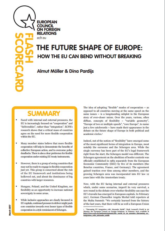 Cover: Future Shape of Europe : vers des coopérations plus flexibles