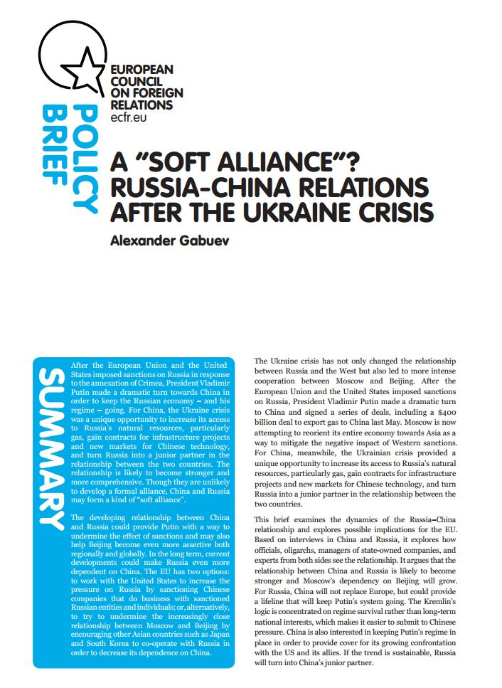 "Cover: A ""Soft Alliance""? Russia-China Relations After the Ukraine Crisis"