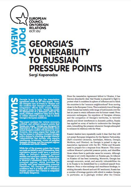 Cover: Georgia's vulnerability to Russian pressure points