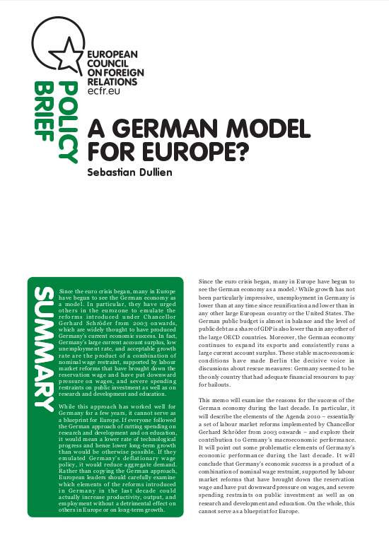 Cover: A German model for Europe?