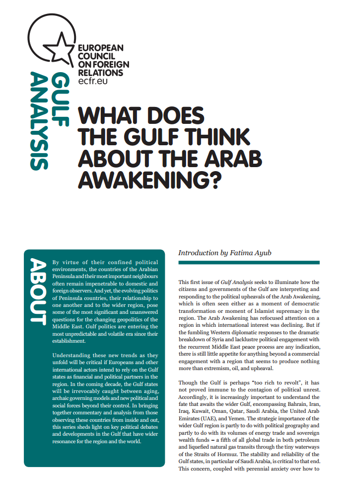 Cover: What does the Gulf think about the Arab Awakening?