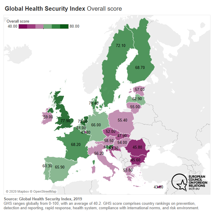 Map of EU countries by overall score at the Global Health Security Index