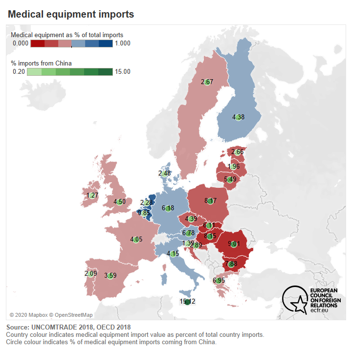 Map of EU countries by medical equipment imports, including share of imports from China