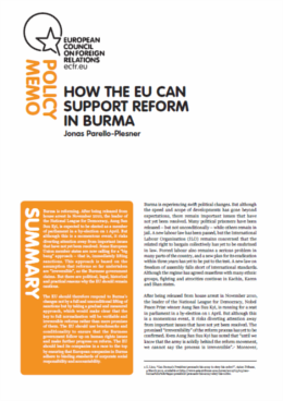 Cover: How the EU can support reform in Burma