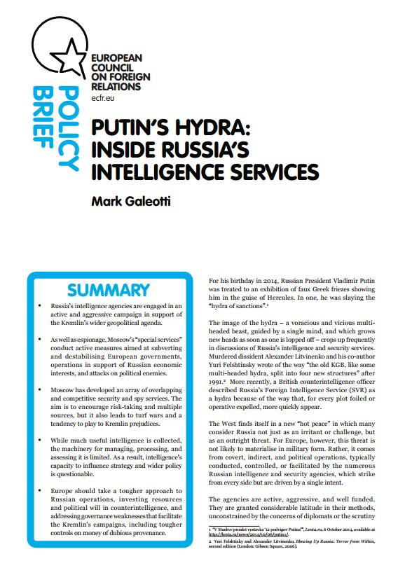 Cover: Putin's hydra: Inside Russia's intelligence services