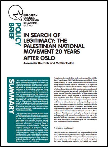 Cover: In search of legitimacy: the Palestinian national movement 20 years after Oslo