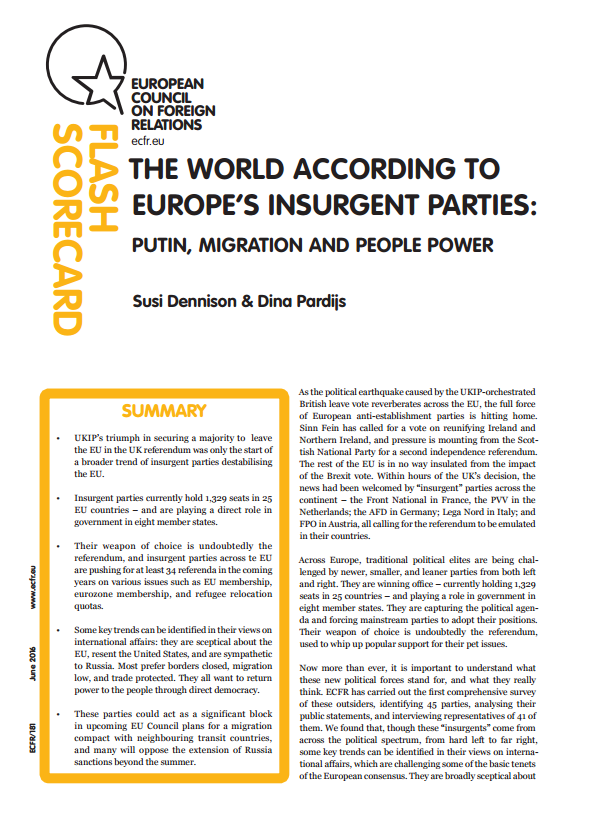 Cover: The world according to Europe's insurgent parties: Putin, migration and people power