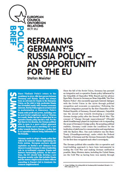 Cover: Reframing Germany's Russia policy - an opportunity for the EU