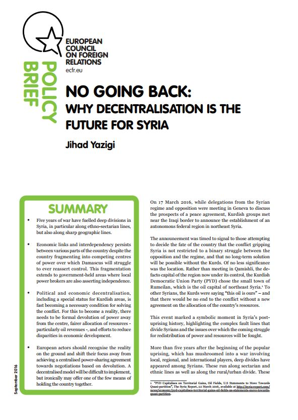 Cover: No going back: Why decentralisation is the future for Syria