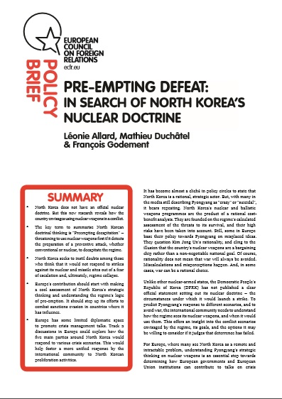 Cover: Pre-empting defeat: In search of North Korea's nuclear doctrine