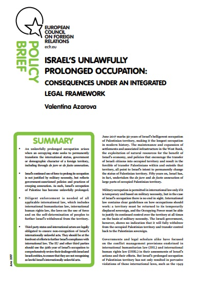 Cover: Israel's unlawfully prolonged occupation: consequences under an integrated legal framework
