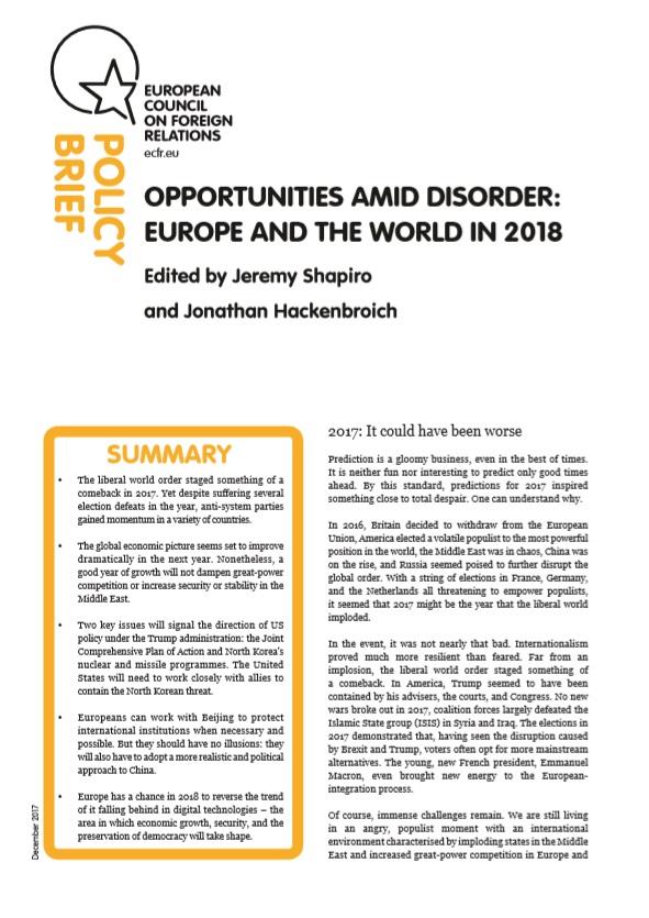 Cover: Szanse w obliczu nieładu: Europa i świat w 2018 r.