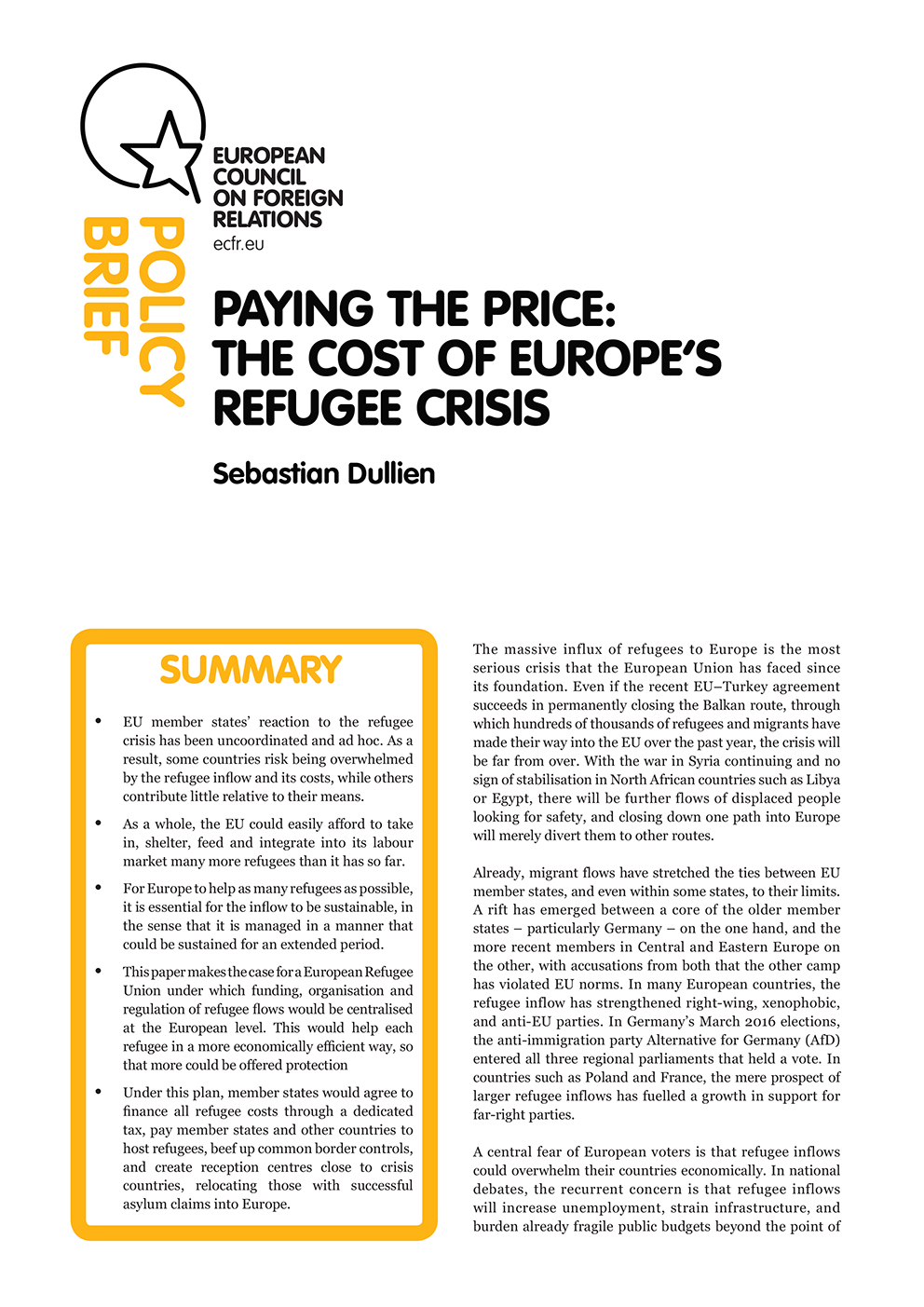 Cover: Paying the price: The cost of Europe's refugee crisis