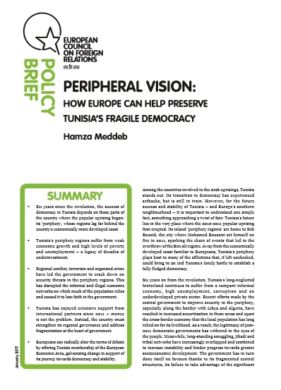 Cover: Peripheral Vision: How Europe can help preserve Tunisia's fragile democracy