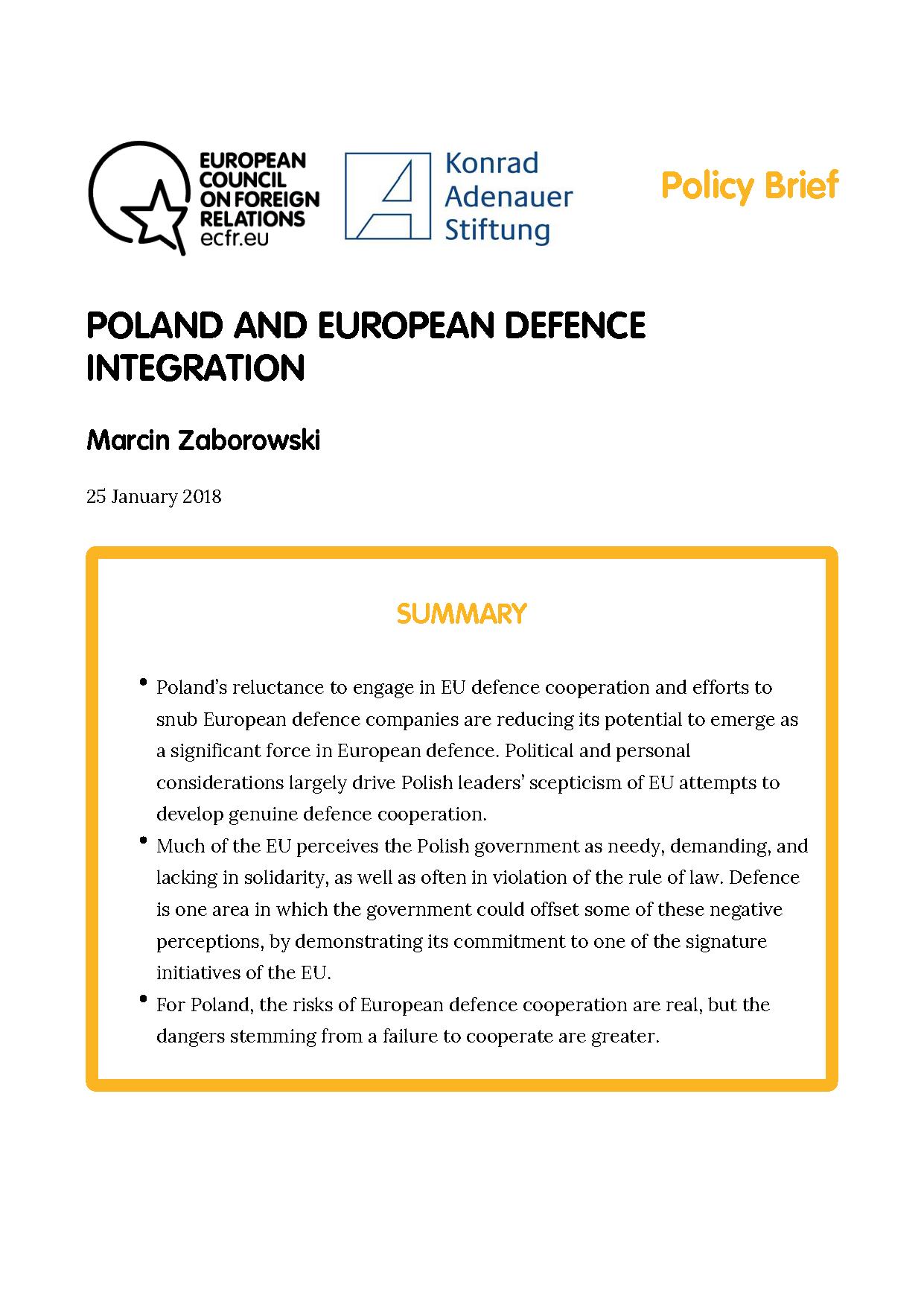 Cover: Polen und die europäische Verteidigungsintegration