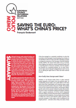 Cover: China's Price for Rescuing the Euro