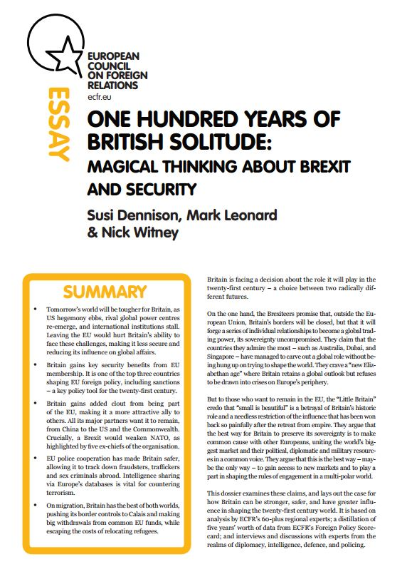 Cover: One hundred years of British solitude: Magical thinking about Brexit and security