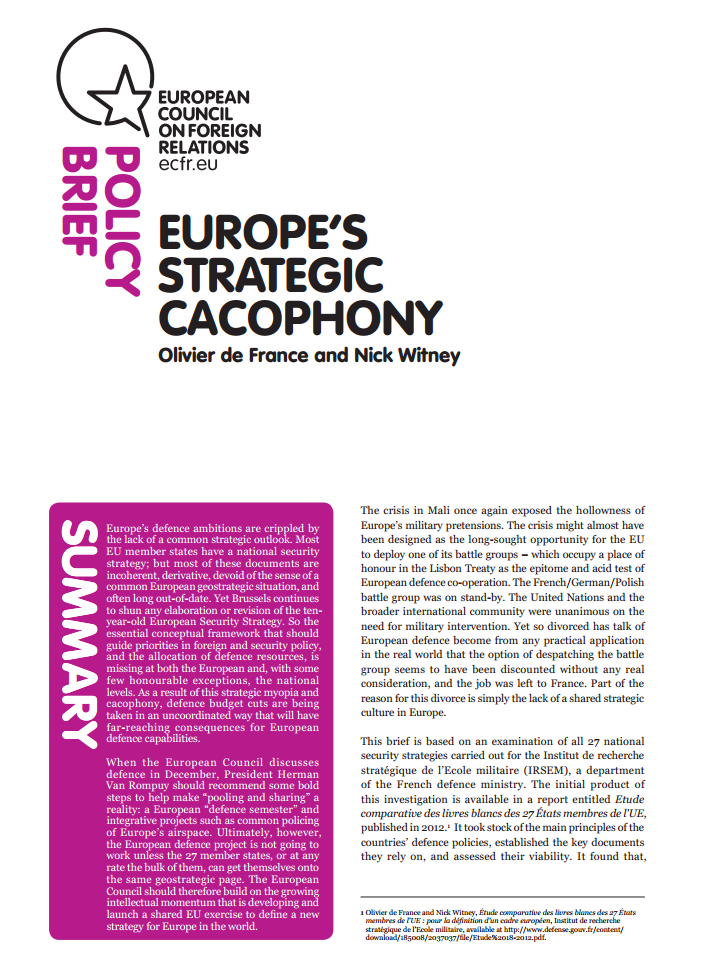 Cover: Europe's strategic cacophony