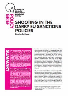 Cover: Shooting in the dark? EU sanctions policies