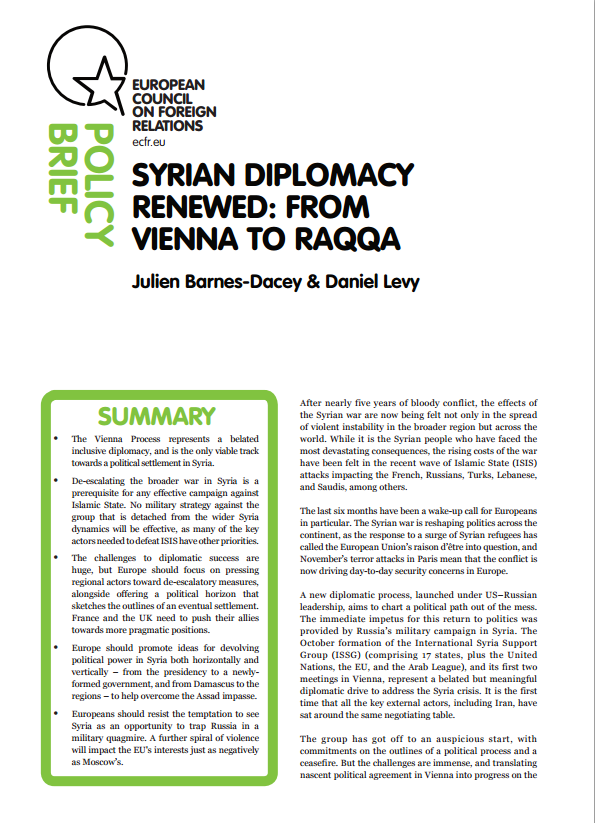 Cover: Syrian Diplomacy Renewed: From Vienna to Raqqa
