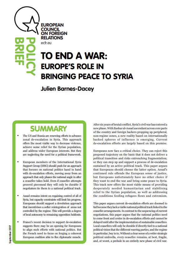 Cover: Dezentralisierung statt Personalwechsel: Was Europa für einen dauerhaften Frieden in Syrien tun