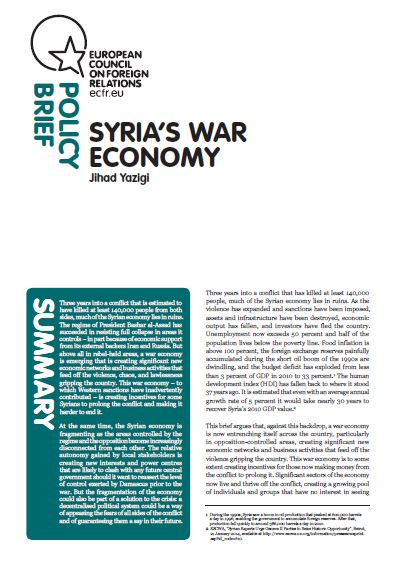 Cover: Syria's war economy