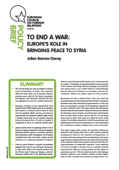 Cover: To end a war: Europe's role in bringing peace to Syria