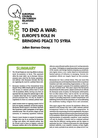 Cover: Mettre fin à la guerre : le rôle de l'Europe pour établir la paix en Syrie