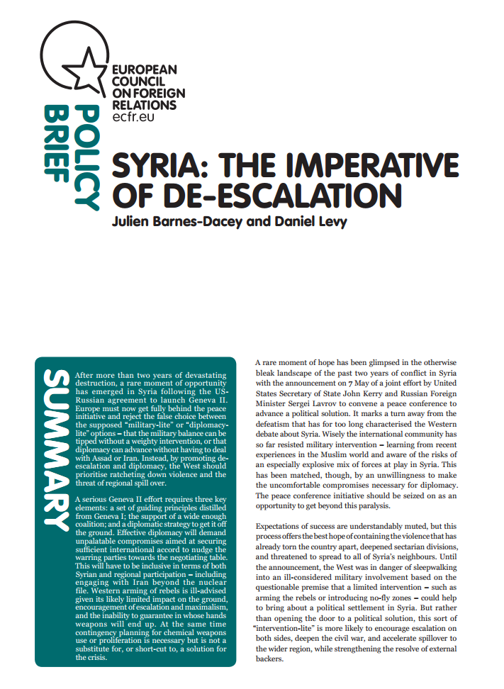 Cover: Syria: The imperative of de-escalation