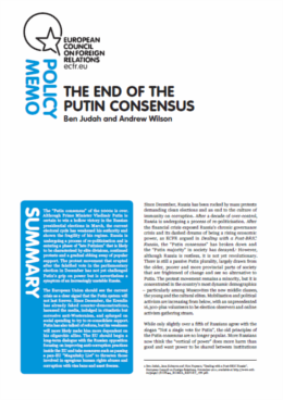 Cover: The end of the Putin consensus