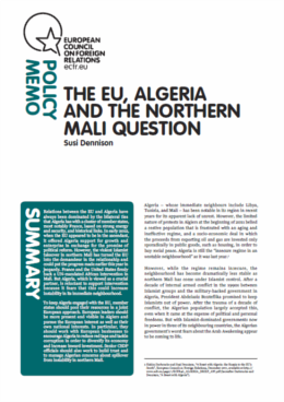 Cover: L'Union européenne, l'Algérie et le nord du Mali