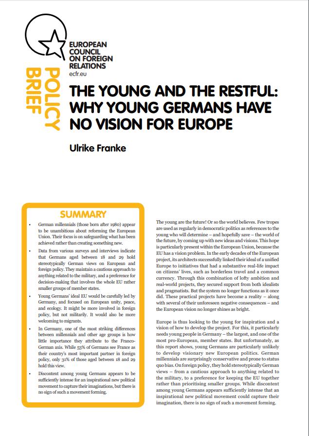Cover: La jeunesse allemande : un manque de vision pour l'Europe