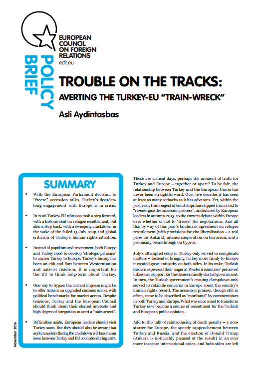Cover: Trouble on the tracks: Averting the Turkey-EU 'train wreck'