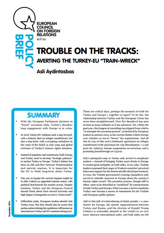 Cover: Panique à bord : éviter le « naufrage » de la relation UE-Turquie