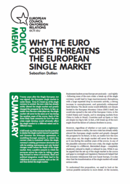 Cover: Why the euro crisis threatens the EU single market