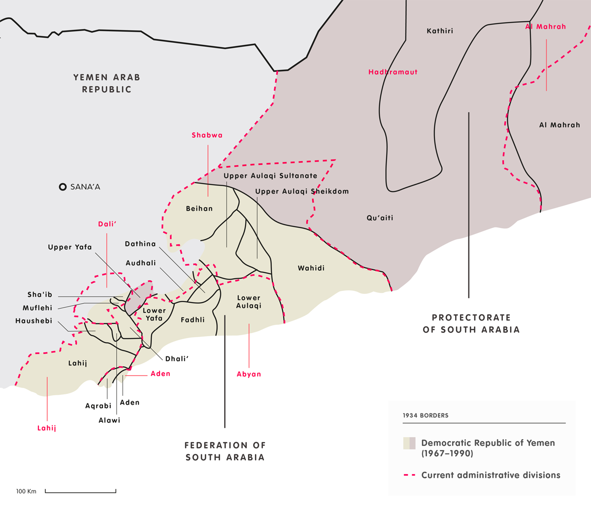Map of Yemen borders in 1934