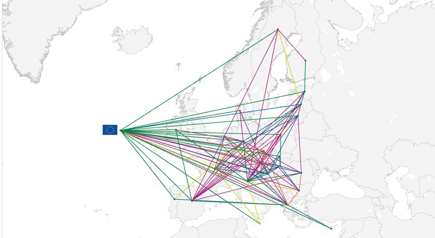 European Solidarity Tracker map