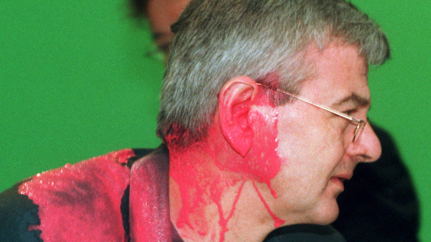 Green Party politician Joschka Fischer, shortly after being hit by a paint capsule at a special meeting of his party on the Kosovo war.