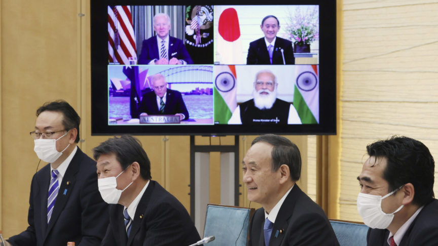 Japanese Prime Minister Yoshihide Suga attends the Quad Summit meeting with U.S. President Joe Biden, Australian Prime Minister Scott Morrison and Indian Prime Minister Narendra Modi at the prime minister's office in Tokyo on March 12, 2021. The leaders of the four-member group discussed a quadrilateral security and strengthen their cooperation with our allies and partners in the Indo-Pacific issue. ( The Yomiuri Shimbun via AP Images )