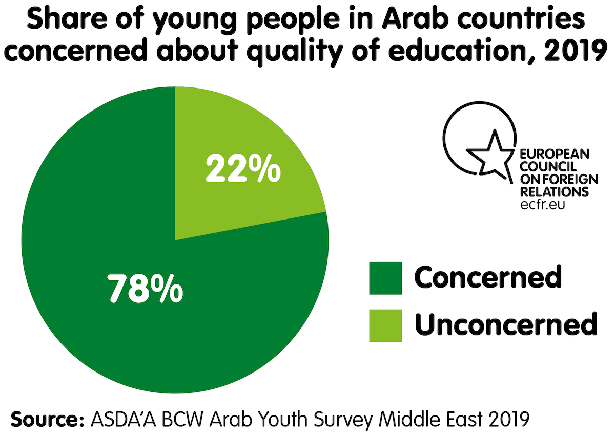 Share of young people in Arab countries concerned about quality of education, 2019